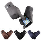 New Men Winter Suede Leather Fleece Lined Thermal Touch Screen Driving Gloves BK