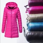 Women's Ultralight Long 90% Down Hooded Jacket Puffer Parka Coat S-6XL