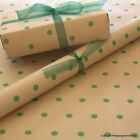 Green Spots Patterned Kraft Brown Wrapping Paper 5 / 10 mtrs Vintage Style Wrap