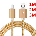 New 1M/2M/3M Braided USB to Micro USB Data Sync Charging Durable Cable Cord