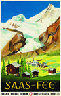 """PICTURESQUE CANVAS vintage poster """"Saas-Fee"""" ski resort swiss alps sky ANON"""