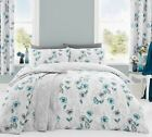 'Fliss' Floral Duvet Covers Modern Poppy Print Cotton Blend Bedding Set Duck Egg