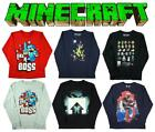 Boys Official Mojang Minecraft Sprites Dragon Boss Long Sleeve Top 13-14 Years