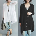 Women's Buttons Down Shirt Tops Waterfall Asymmetrical Loose Batwing Blouse Plus
