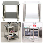 2 Tiers Shelf Glass Side End Coffee Lamp Table Black &Clear Living Room Stand