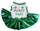 Mardi Gras White Cotton Top Bling Green Tutu Pet Dog Puppy Dress