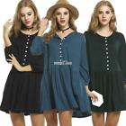 Women Casual Long Sleeve Button Loose Pleated Dress With Pockets RR6
