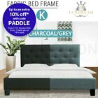 LUXDREAM Multi-Sized Linen Fabric Bed Frame Wooden Feet Modern Home Charcoal/GY