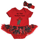 My First Mother's Day Red Cotton Bodysuit Black Rose Baby Dress NB-18M