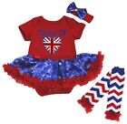 Proud Of British Heart Red Bodysuit Blue Snowflake Baby Dress Leg Warmer NB-18M