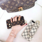 Luxury Chequer Leather Wristband Soft Case Cover For iPhone X 8Plus 6s 7Plus