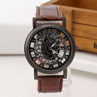 Luxury Men's Skeleton Stainless Steel Hollow Leather Analog Quartz Wrist Watch image