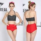 Women Vintage Style High Waist Bottom Bikini Set Two Piece Dot Print EN24H