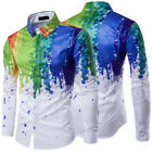 Mens 3D Splash-ink Splashed Painted Long Sleeve Slim Fit Shirt Casual Shirt Tops