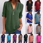 Women Casual Zipper Front V Neck Cuffed Sleeves Solid Chiffon Blouse Shirt Tops
