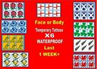 FACE size SPORT FLAGS X6 temporary tattoos football rugby 6 nations LAST 1WEEK