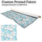 Roses and Rabbits Light Blue Fabric Lycra Spandex Polyester Voile Chiffon