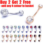 Surgical Steel Belly Bar Navel Bar Belly Bars Navel Belly Button Ring Double Gem