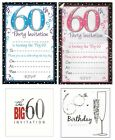 AGE 60 - 60th BIRTHDAY Party Invitations & Envelopes Boy Male Girl Female Invite