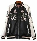 Floral Phoenix Embroidered Bomber Jacket Baseball Reversible Embroidery Vintage