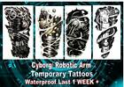 CYBORG robotic bionic TATTOO FULL ARM XL LARGE temporary waterproof last 1 WEEK+