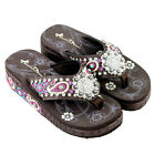 Montana West Flip Flop Sandals Hand Beaded Embroidered Coffee Paisley Bling