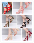 Womens Fashion Ladies High Block Heel Open Peep Toe Lace Up Sandals Party Shoes