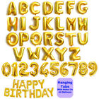 """Gold & Silver 16"""" Alphabet A-Z Letter Number Foil Balloons NAME PARTY WEDDING"""