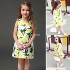 New Fashion Kids Girl's Wear O-Neck Sleeveless Floral A-Line Pleated EN24H