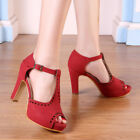 Women's Vintage Red Ankle Shoes T-Straps Dress High Heels Ladies Sandals Pumps