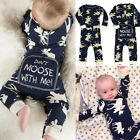 moose clothing - USA Christmas Newborn Baby Boy Moose Romper Bodysuit One-pieces Outfits Clothes