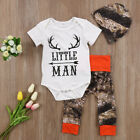 USA 3Pcs Newborn Baby Boys Tops Romper Camouflage Long Pants Deer Outfit Clothes