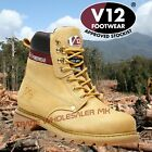 V12 BOULDER HONEY LEATHER WORK SAFETY STEEL TOE CAP & MIDSOLE BOOTS