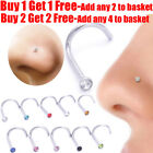 Nose Stud Pin Surgical Steel Small Gem Crystal Screw Nose Ring Piercing Stud