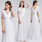 Ever-pretty US Double V-neck Bridesmaid Dresses White Long Evening Gowns 09890