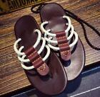 Mens Comfortable Lace Up Casual Sandals Canvas Hemp Rope Flat Soft Slipper Shoes