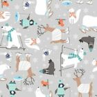 Snow Happy Quilt Fabric Multi Animals Style 4183/90 Multi Blue
