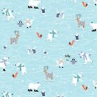 Snow Happy Quilt Fabric Ice Skaters Style 4184/11 Blue