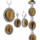 Oval Natural Tigers Eye Stone Jewelry Sets Necklace Earrings Ring Bracelet Set