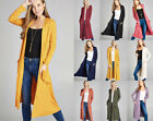 S-XL Soft Knit Long Midi Open Front Long Sleeves Solid Colors Cardigan Jacket