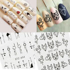 Black Flowers Pattern Nail Decals Water Transfer Nail Art Stickers Tips 4 Sheets