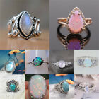 925 Silver Ring Woman Man White Fire Opal Moon Stone Wedding Engagement Size6-10 image
