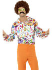 Mens 60s 70s Groovy Dude Multi-colored Disco Shirt Costume