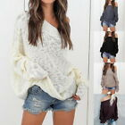 Ladies Oversized Solid Color Loose Off Shoulder Sweater Pullover Tops Plus Size
