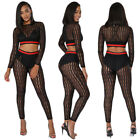 Women SexyClub Mesh sheer Crop TOP long sleeve+slim leggings one set S-2XL K9251