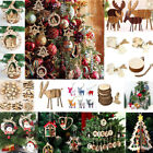 3D Xmas Tree Pendants Hanging Wooden DIY Christmas Decoration Home Party Decor