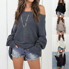 Woman Fashion Solid Loose Off Shoulder Sweater Ladies Pullover Tops Plus Size US