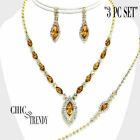 """MARQUISE """"3 PC SET"""" CRYSTAL PROM WEDDING FORMAL NECKLACE JEWELRY SET TRENDY H"""