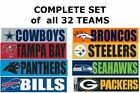 PICK TEAM, or SET of NFL BUMPER STICKERS LARGE VINYL HIGH QUALITY 3X8 $3.95 USD on eBay
