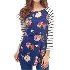 Maternity Nursing Tops Round Collar Foral Printed Blouse Comfort Costume Warm